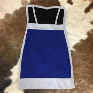 BeBe bodycon dress strapless blue,black and silver